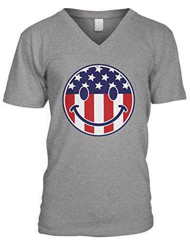 ag Smiley Face, American Flag Smile V-Neck T-Shirt, Heather Gray 2XL ()
