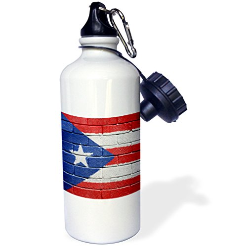 """3dRose wb_156970_1""""National flag of Puerto Rico painted onto a brick wall Rican"""" Sports Water Bottle, 21 oz, White"""