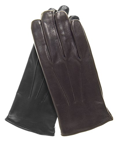 Fratelli Orsini Everyday Men's Italian Lambskin Cashmere Lined Winter Leather Gloves (XL, Black) (Leather Dress Gloves Mens)