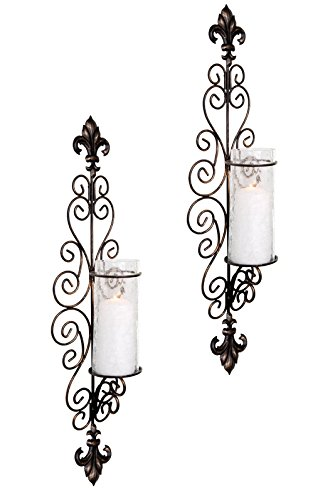 Bronze Finished Wall Lantern (Set of Two Decorative Modern Black Metal Wall Sconce and Crackle Finished Hurricane Candle Holders, Wall Lighting - Perfect for a living room dining room or entry)