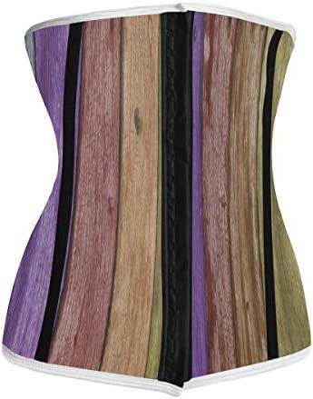 Rainbow Color Wooden Plank Waist Trainer Corset for WomenPostnatal Long Torso Cincher Underbust