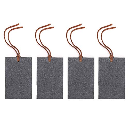 VersaChalk Rustic Slate Erasable Chalkboard Wine Gift Tags with Leather Tie, 2 x 3 Inches, 4 Pcs ()