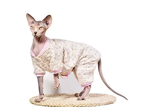 Khemn Designer Cat Warm Clothes Cat Sweater Jumpsuit Cat Pajamas with Thick Fleece-Best for Hairless Cat, 5 Colors (Rabbit, L)