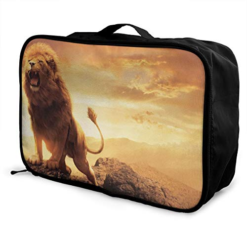 Charm Trend Lions King Lightweight Waterproof Large Travel Duffel Bag Rolling Packable Extra Overnight Luggage Bags For Camping Gym Bags For Men/Women -