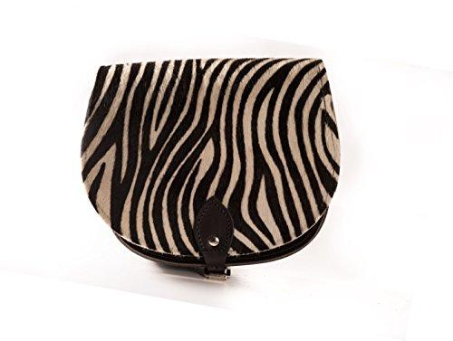 Zebra-Druck-Rindleder-Pelz Echtes Rindsleder Sattel Crossbody Handtasche mit Schnalle und verstellbarem Riemen