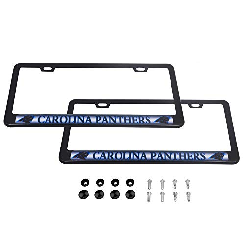 CHNNFC 2 Pack Luxury Stainless Steel License Plate Frame and Colored Auto Emblem (Carolina -