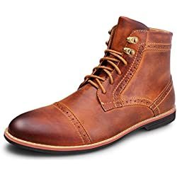 Kunsto Men's Leather Classic Brogue Boots Lace up Cap Toe US Size 10.5 Brown