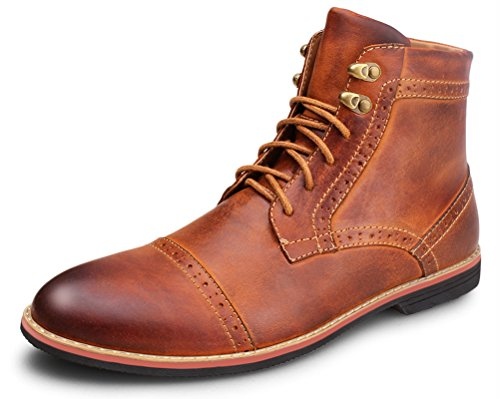 Kunsto Men's Leather Classic Brogue Boots Lace up Cap Toe US Size 9 Brown