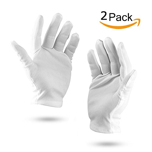 White 100% Cotton Gloves Working Protective Gloves(2Pcs) - Buy