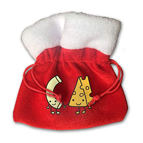 Personalized Santa Sack,Macaroni and Cheese Love Portable Christmas Drawstring Gift Bag -
