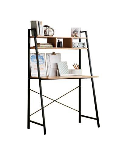 Bookcase Desk Ladder (Offex Home Office Black Ladder Steel Frame Desk with Wooden Bookcase Above)