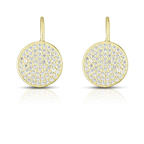 - Unique Royal Jewelry 925 Sterling Silver and Cubic Zirconia Cluster Pave French Clip Pierced Post Drop Designer Earrings. (14K Yellow Gold Plated Sterling Silver)