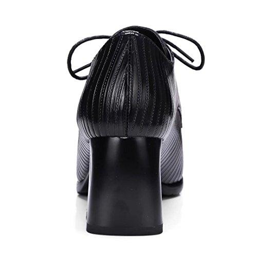 nappa Talón Mujer Up de zapatos Negro leather negro vimisaoi Oxford encaje Botines Chunky YP1d1qt
