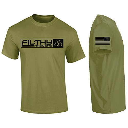 Filthy Anglers Mens Fishing T Shirt Short Sleeve with Military Front Style Print American Flag on Sleeve (Large, Military Green)