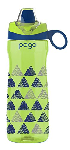 Pogo BPA-Free Tritan Kids Water Bottle with Silicone Soft Straw, Lime Triangles, 18 Oz