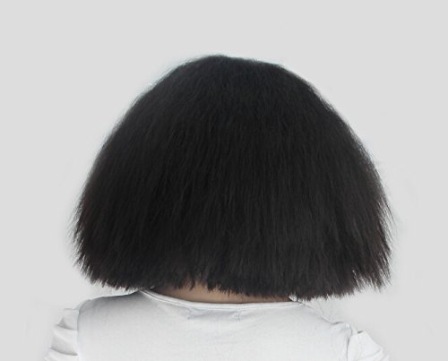 ENilecor Women Short Bob Fluffy Hair Full Wigs With Bangs Heat Resistant Kinky Straight Custom Cosplay Party Wigs