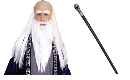 Silver Wizard Skull Scepter Wand Sorcerer Disguise Kit Costume Accessories Prop