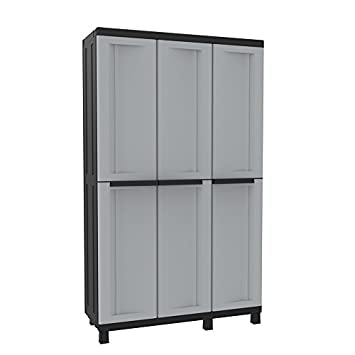 Kunststoff-Schrank Spindschrank mit 3 Türen, grau/schwarz - 102 x 39 ...