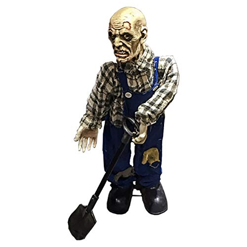 Halloween Haunters 30 Grave Digging Farmer Zombie Animated Moving Body, Head, Arms, Prop Decoration - Howls, Red Light Up Eyes - Battery Operated