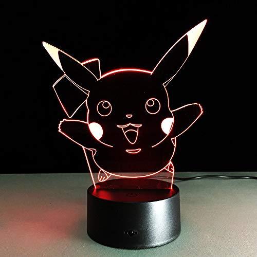 AIBULB NEW Pocket Monster Go Pikachu 3D Night Light Action Figure LED Toy Lamp 7 Colorful Change Kids Gift Birthday Halloween Xmas Celebrity
