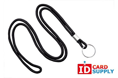(Brady People Id 2135-3101 Round Woven Nylon Lanyard with Nickel Plated Steel, Standard, Split Ring, Black (Pack of 100))