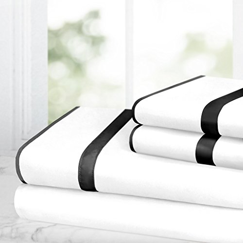 Italian Luxury Bed Sheet Set - 1500 Hotel Collection w/ Beautiful Satin Band Trim - Ultra Soft Wrinkle & Fade Resistant Microfiber, Hypoallergenic 4 Piece Set- Queen - White/Black