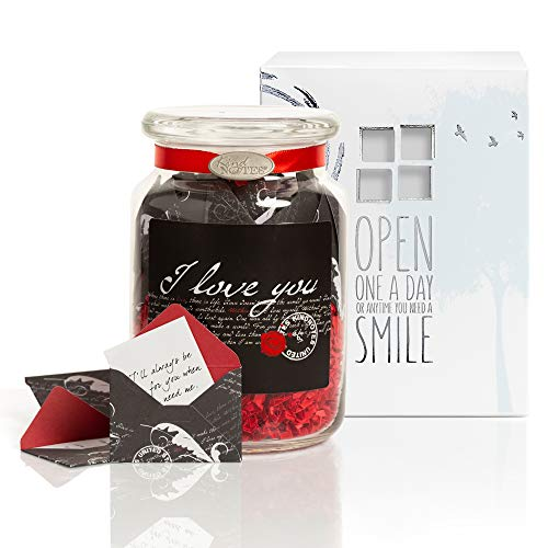 KindNotes Glass Keepsake Gift Jar with Long Distance Missing You Messages (for Couples) - Romantic I Love You