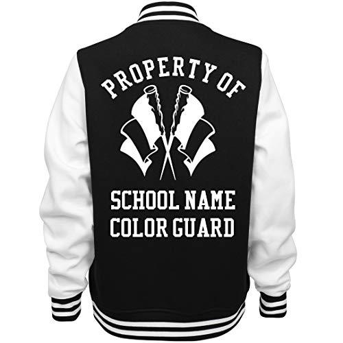 Custom School Property of The Color Guard: Ladies Fleece Letterman Varsity Jacket Black/White ()