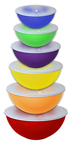 (Gourmet Home Products 12 Piece Nested Polypropylene Mixing Bowl Food Storage Set with Lids, Red)