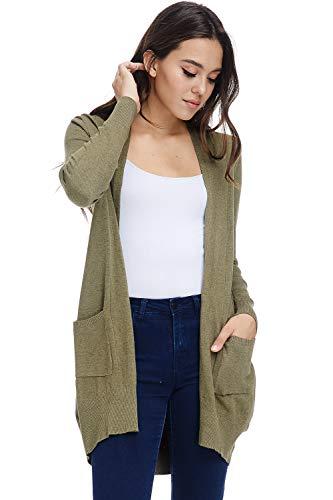 - Alexander + David A+D Women's Basic Open Long Sleeved Soft Knit Cardigan Sweater Lightweight with Pockets (L. Olive, Small/Medium)