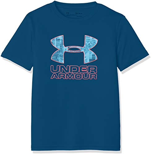 Under Armour Print Fill Logo Tee, Petrol Blue//Red Rage, Youth Large