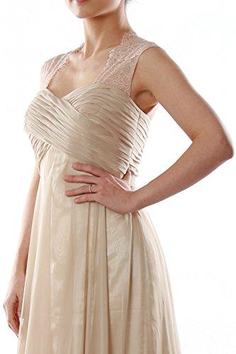 MACloth Women Lace Straps Chiffon Long Bridesmaid Dress Formal Evening Gown Burgundy