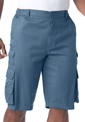 Blue Boulder (Boulder Creek Men's Big & Tall Ranger Side-Elastic Cargo Shorts, Slate Blue)