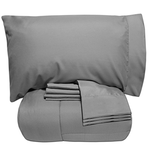 Sweet Home Collection 5 Piece Bed-in-a-Bag Solid Color Comfo