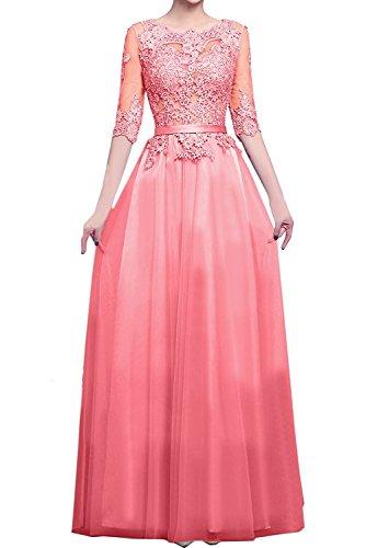Wassermelon mia Ballkleider Braut Abendkleider mit Herrlich La Blau Spitze Brautmutterkleider Langarm Tanzenkleider Langes RZ7wqBd