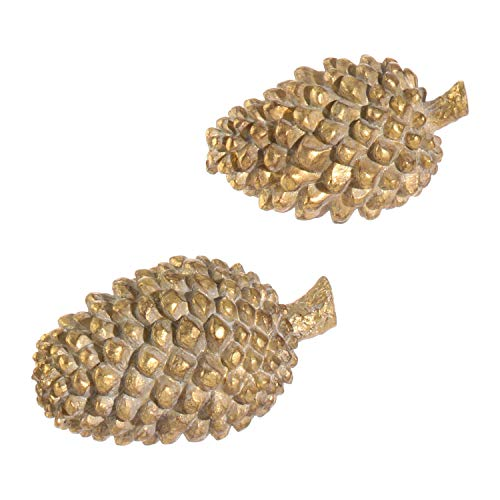 Pinecones Resin Decorative Tabletop Christmas Figurines Assorted Set of 2 ()