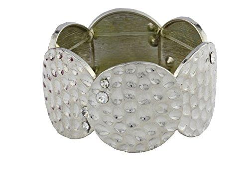 - dokreil Wide Silver Circular Filigree Pits Women's Stretch Bracelet