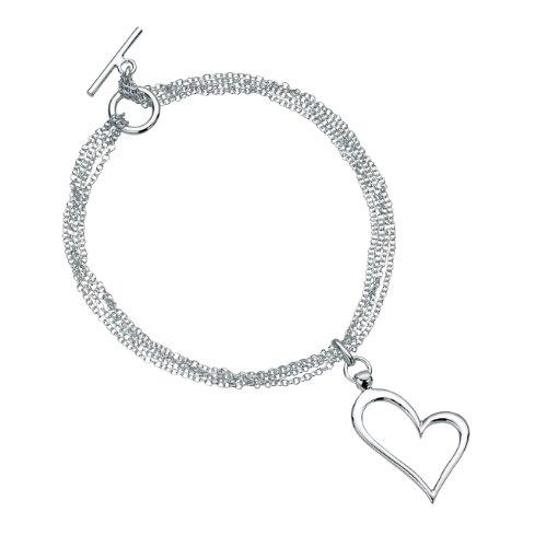 - Elements, Silver Multi Chain T-Bar Bracelet With Open Heart