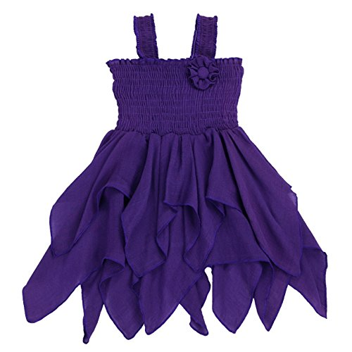 Toddlers and Girls Gauze-Cotton Handkerchief Hip Hip Hooray Dress in Night Purple 2T
