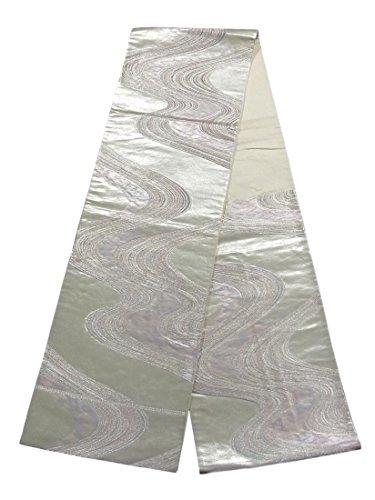 リンク洋服算術リサイクル 袋帯 流水文 銀地 箔糸 正絹