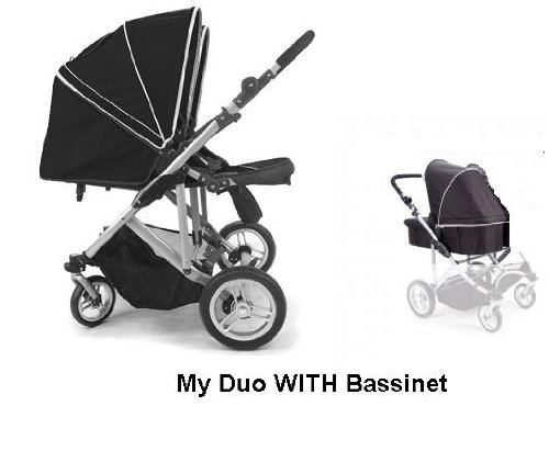 Stroll-Air MY DUO Twin Baby Stroller WITH Bassinet-Black