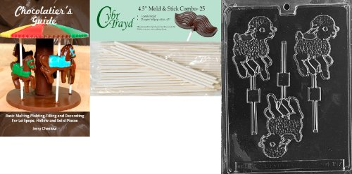 Cybrtrayd 45St25Bk-E157 'Lamb Lolly' Easter Chocolate Candy Mold with 25 4.5-Inch Lollipop Sticks and Chocolatier's Guide