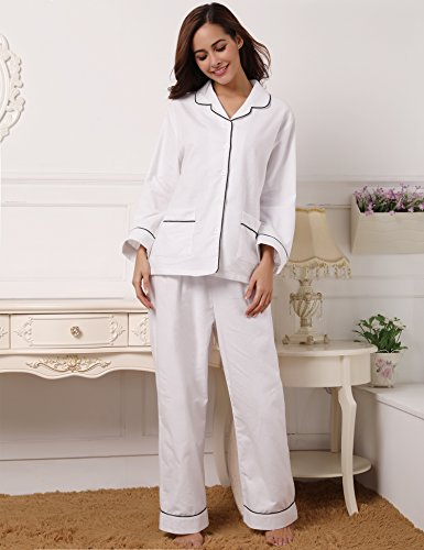 per Pigiama Lunghe Notte le Donna Cotone White Pigiama a da Stagioni Aibrou Sleepwear Camicia Maniche Tutte n4qPRHYxw