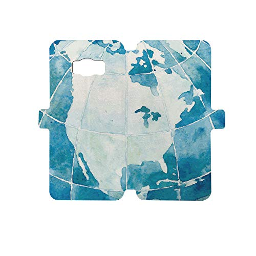 - Premium PU Leather Magnetic Flip Folio Protective Sleeve for Samsung Galaxy S8,Map,Hand Drawn Watercolor Style Globe Sphere with North America Continent Paint Effect,Blue White