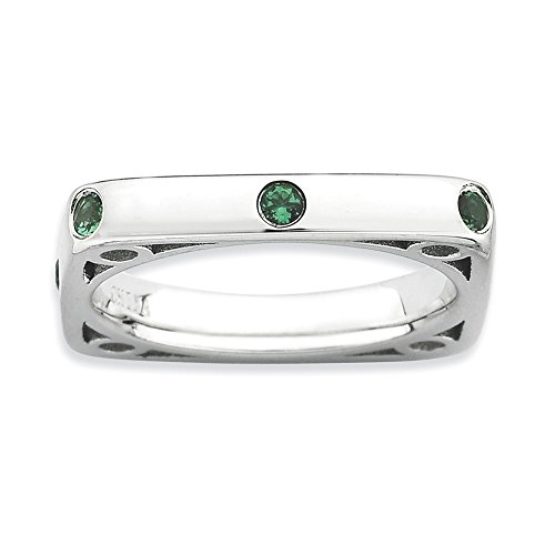 925 Sterling Silver Created Green Emerald Square Band Ring Size 9.00 Stone Stackable Gemstone Birthstone May Fine Jewelry Gifts For Women For Her