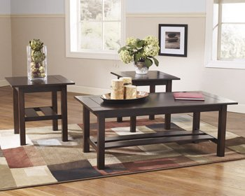 Ashley Furniture T309-13 Occasional Table Set, Lewis Medium Brown - Set Of 3 - Rectangular Occasional Table Set