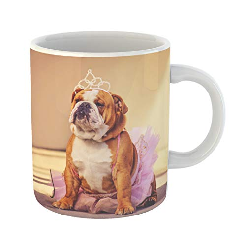 Emvency Coffee Tea Mug Gift 11 Ounces Funny Ceramic Cute Bulldog Dressed Up in Pink Tutu and Princess Tiara Crown Toned Retro Gifts For Family Friends Coworkers Boss Mug]()