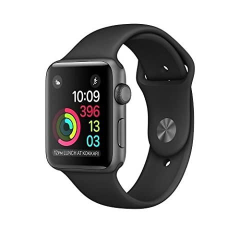 New Apple Series 2 Watch for iPhone - 42mm Space Gray Aluminum Case with Black Sport Band - 802.11b/g Plus Bluetooth
