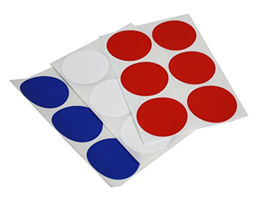 Round dots Stickers in Red, White and Blue 50mm - All American Colored dot Labels 4th of July - 72 Pack by Royal Green