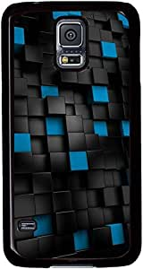 Black-and-Blue-Cubes Cases for Samsung Galaxy S5 I9600 with Black sides